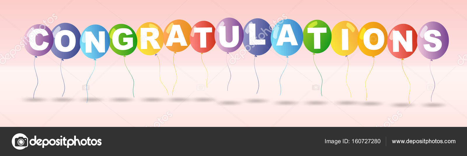 Congratulations card template with colorful balloons \u2014 Stock Vector