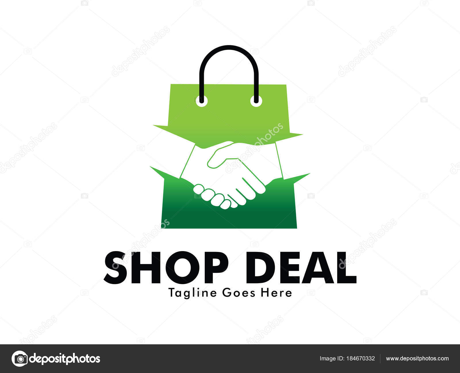 Design Online Shop Online Shop Deal Handshake Vector Logo Design Stock Vector