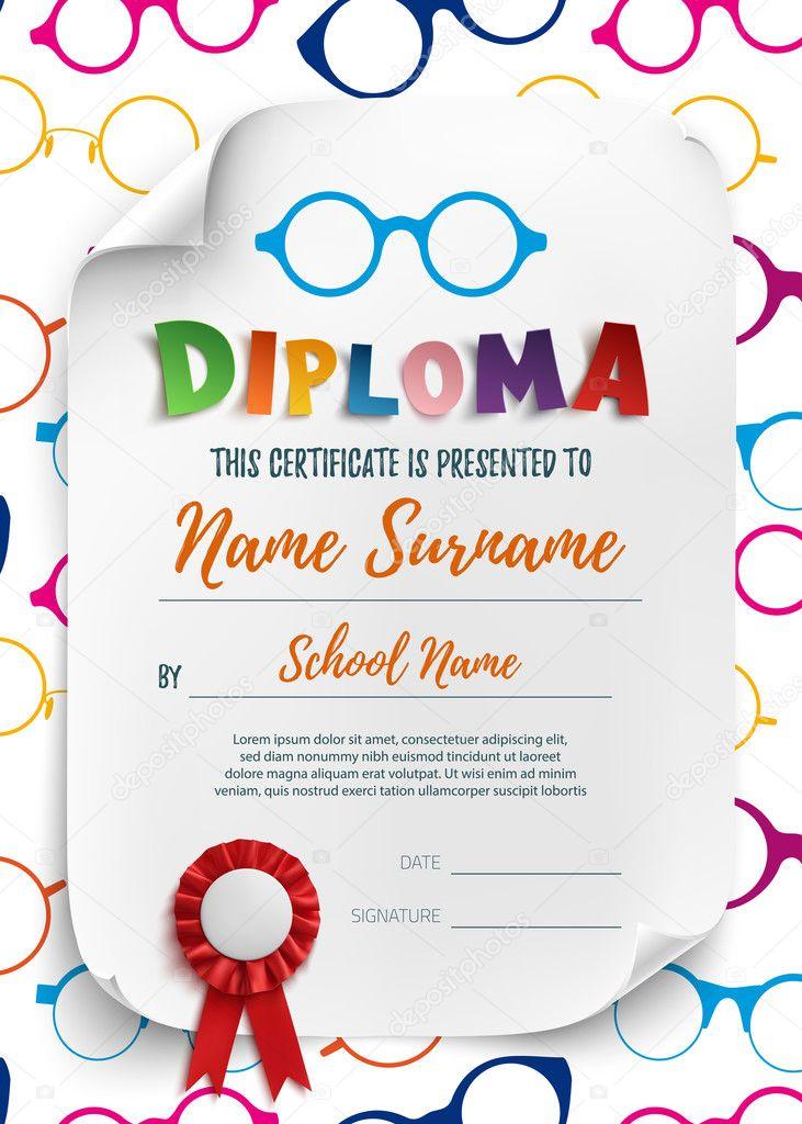 school diploma niño capacitación certificado pequeño tren vector de