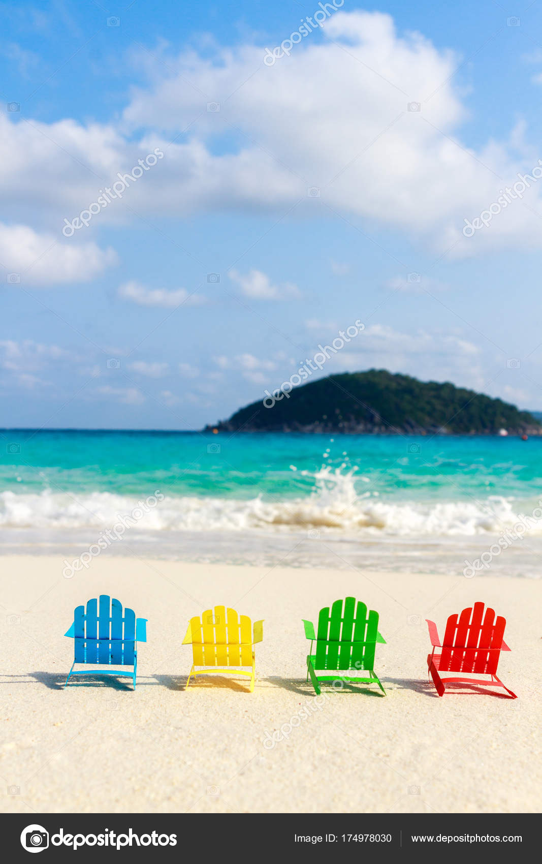 Beach Chairs On The Sandy Beaches For Tourists To Sit And Relax In The Soft Ocean Waves Breaking On The Beach Made Of Paper Stock Photo Image By Dadooda 174978030