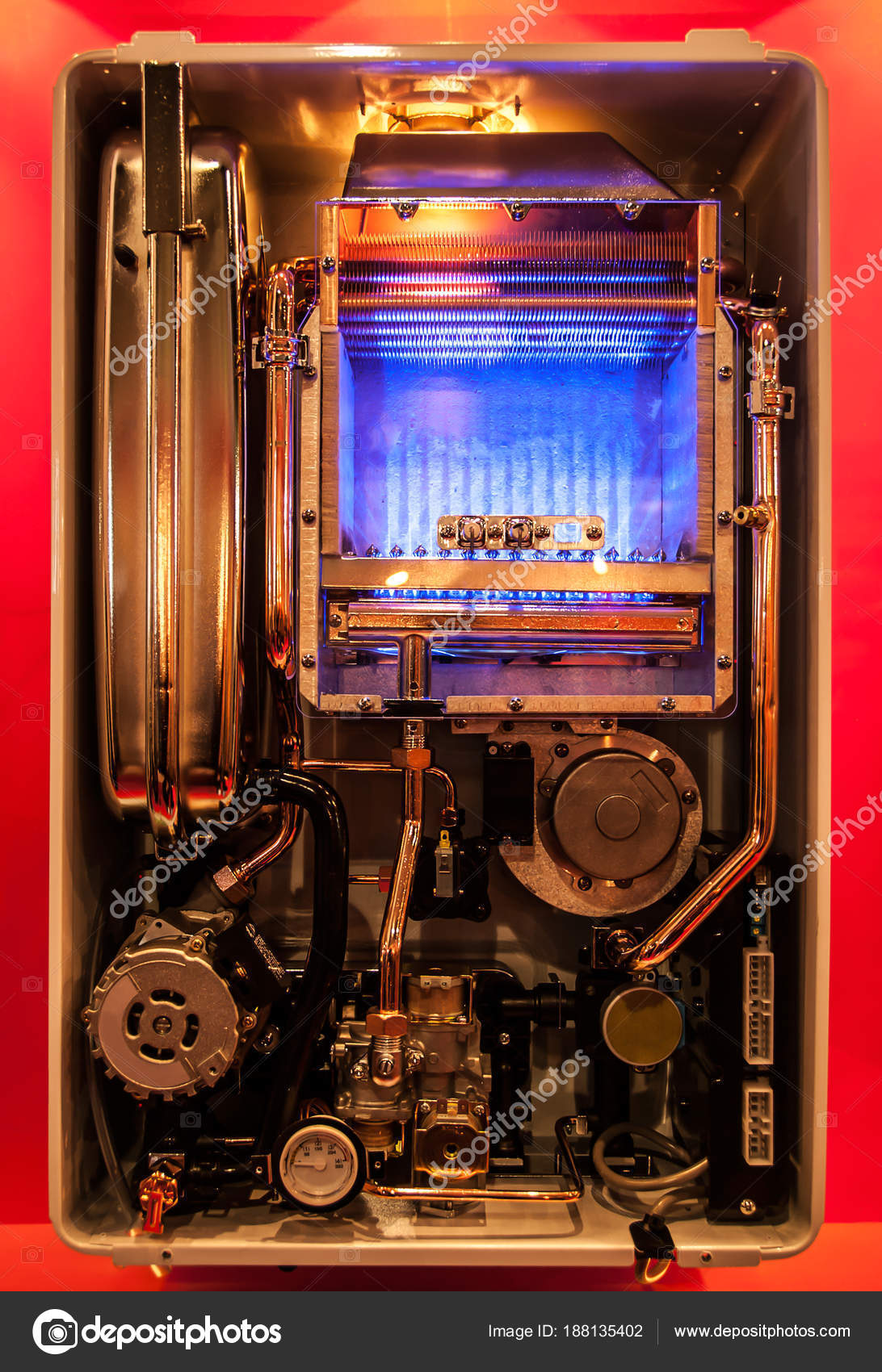 Closein Boiler A Close Up View Inside Of A Gas Boiler Stock Photo Sashikoa