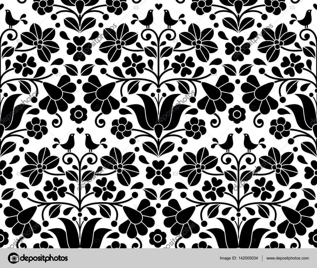 Black And White Floral Wallpaper Hungarian Folk Art Seamless Background Kalocsa Floral