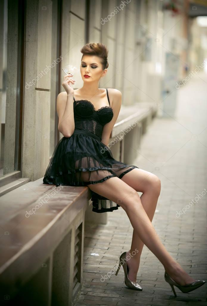 Beautiful Girl Black And White Wallpaper Sensual Girl With Long Legs Short Black Dress And High