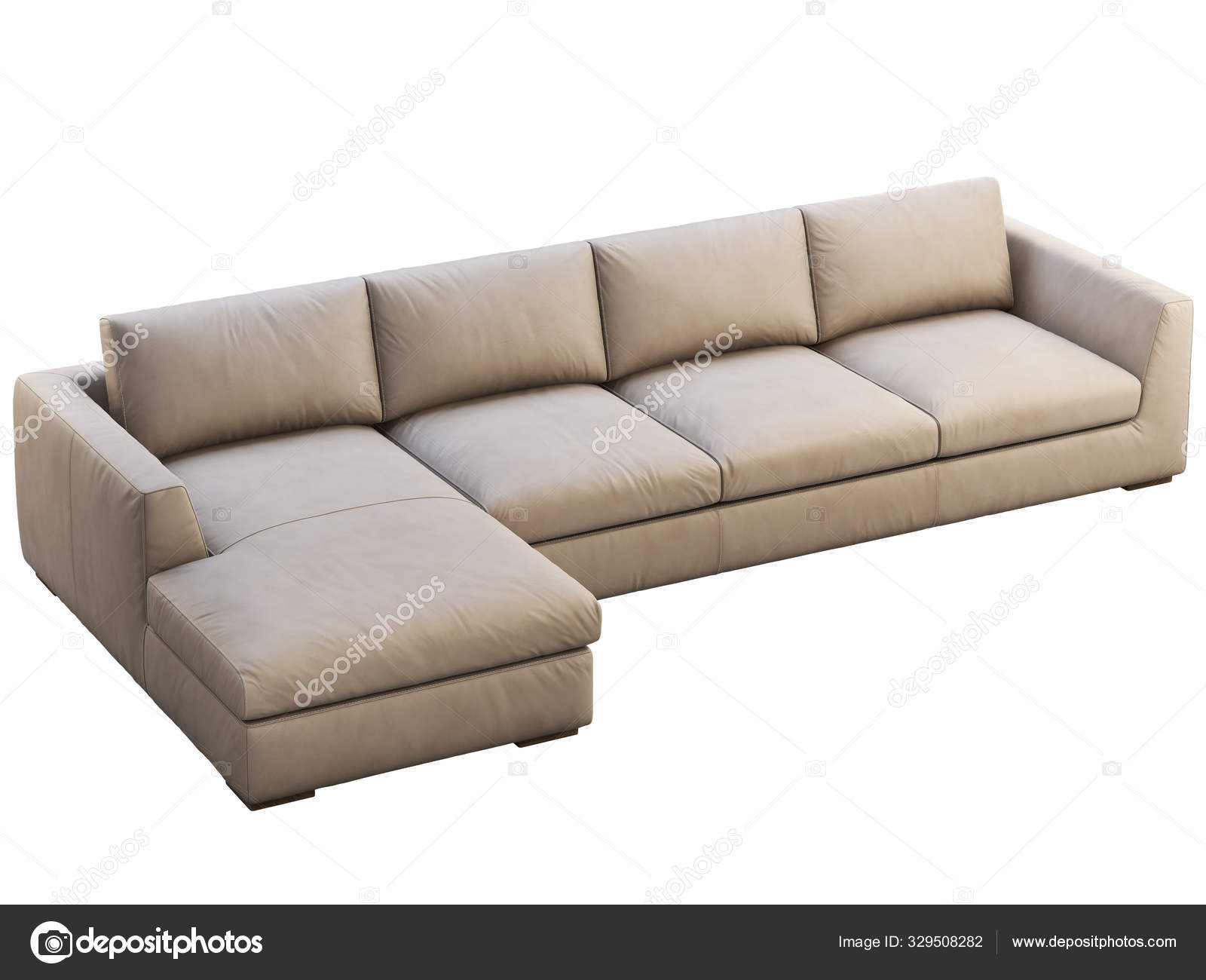 Chalet Modular Beige Leather Upholstery Sofa With Chaise Lounge 3d Render Stock Photo 3dmitruk 329508282