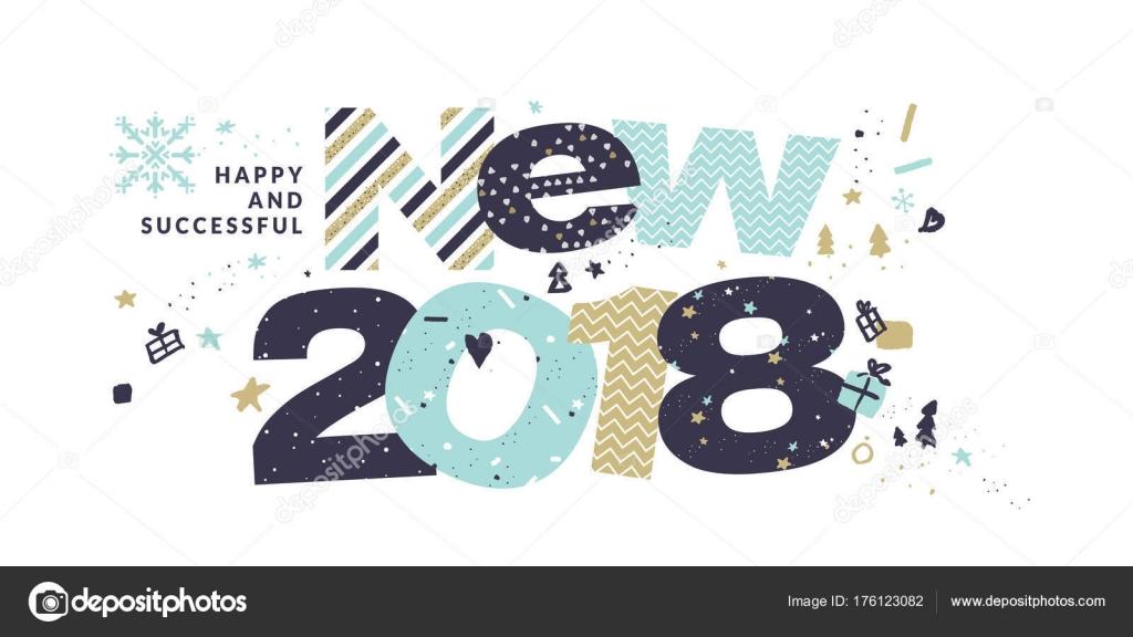 Cartão Ano Novo 2018 Modelo Ilustração Vetorial Design Plano Para