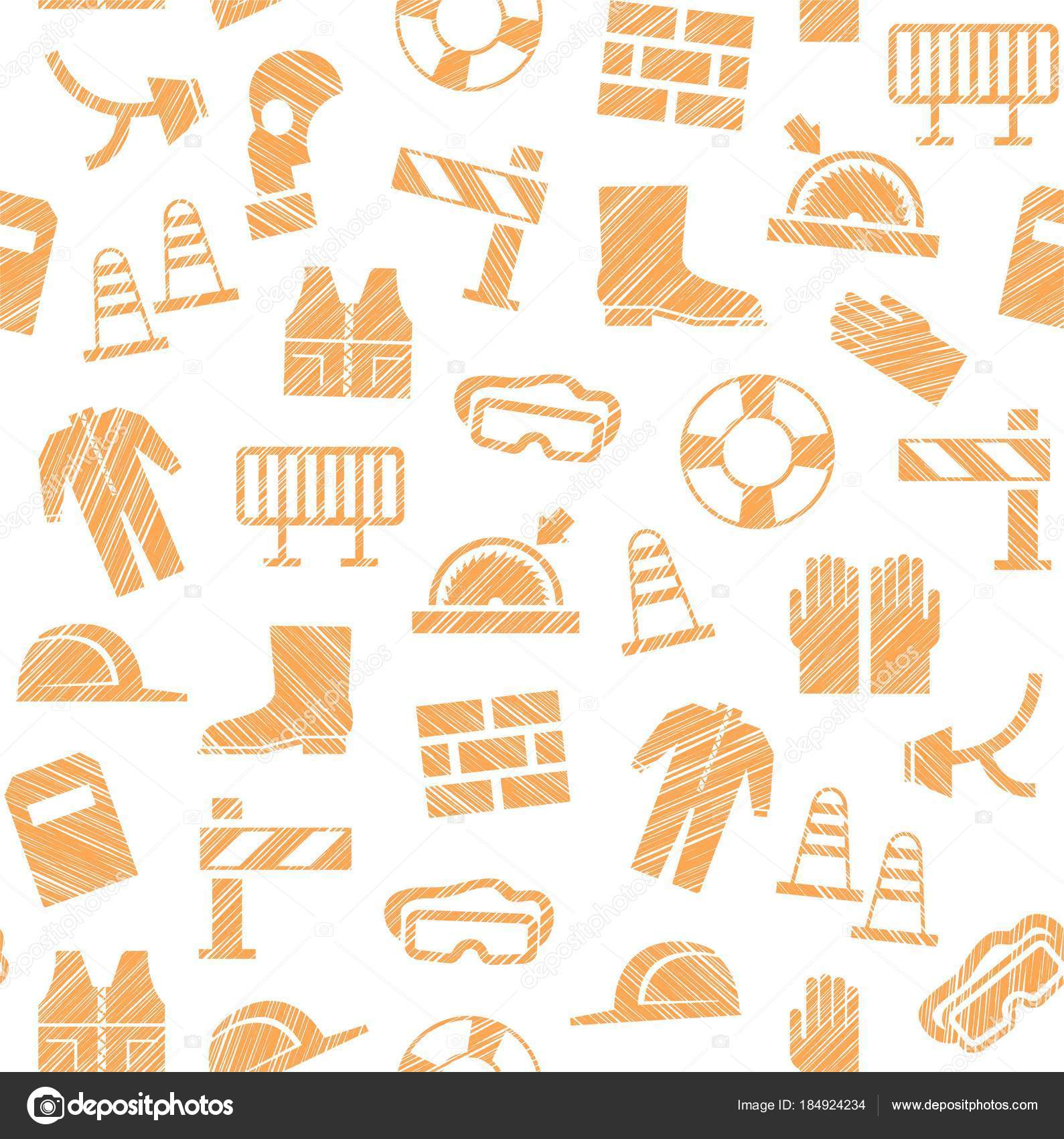 Labor Safety Safety Work Labor Protection Seamless Pattern White Orange Pencil