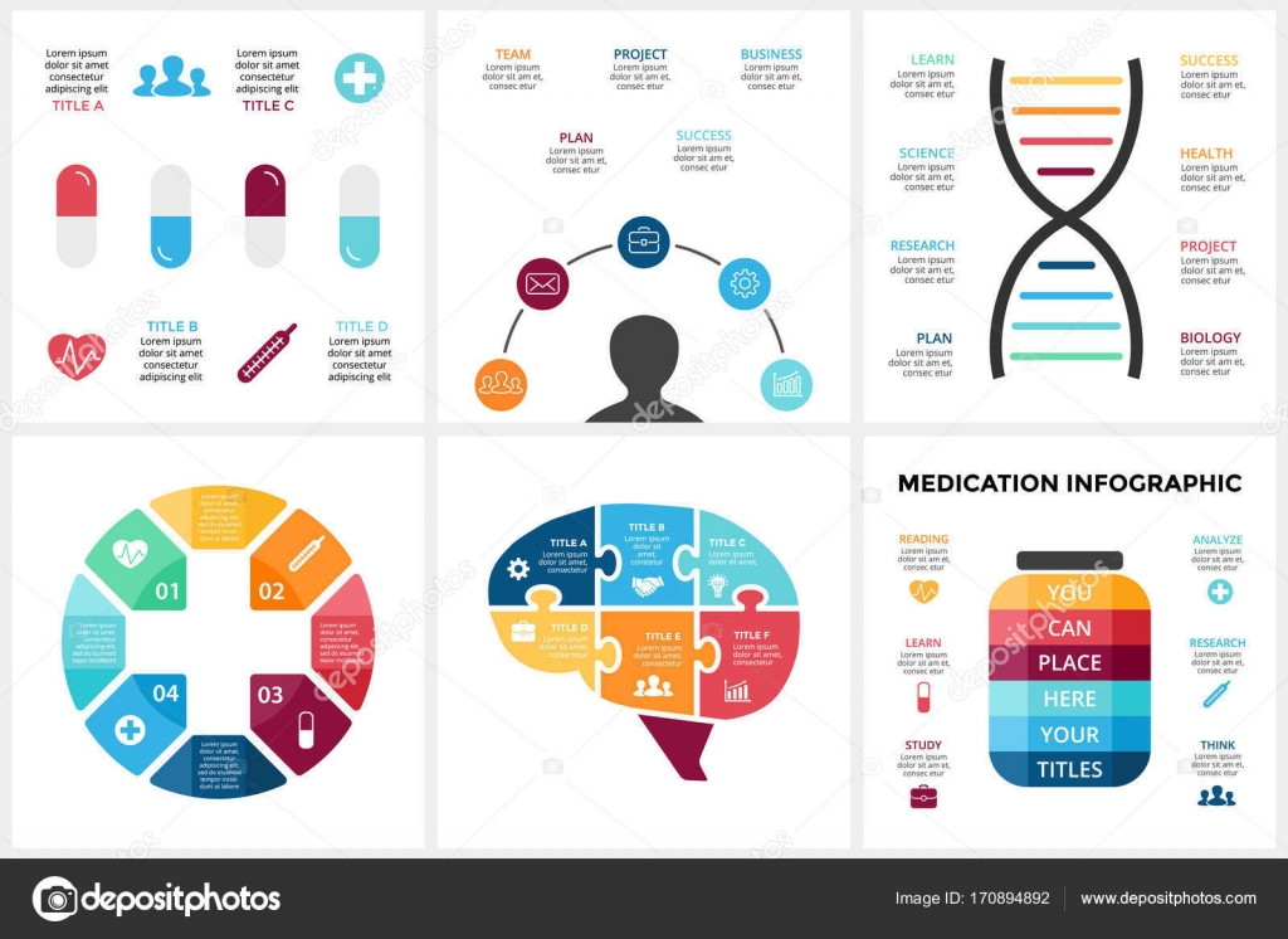 Vector medicine infographic Template for human brain diagram