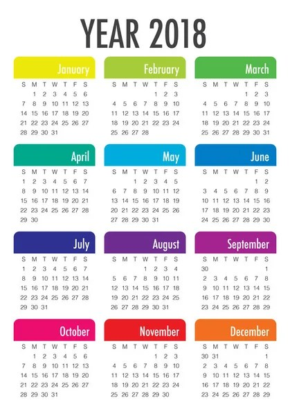 2018 Blue green yearly calendar Federal holidays, moon and numbers - yearly calendar