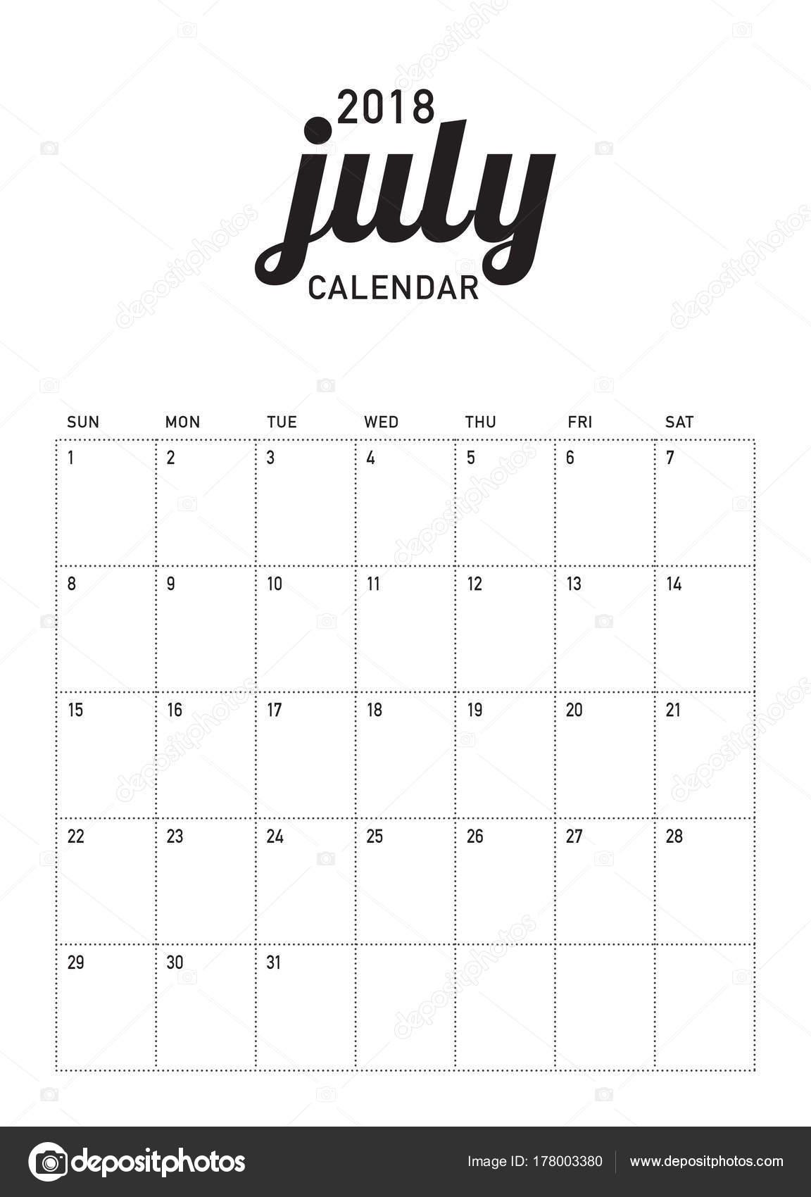 Ilustración de vector de julio de 2018 calendario planificador