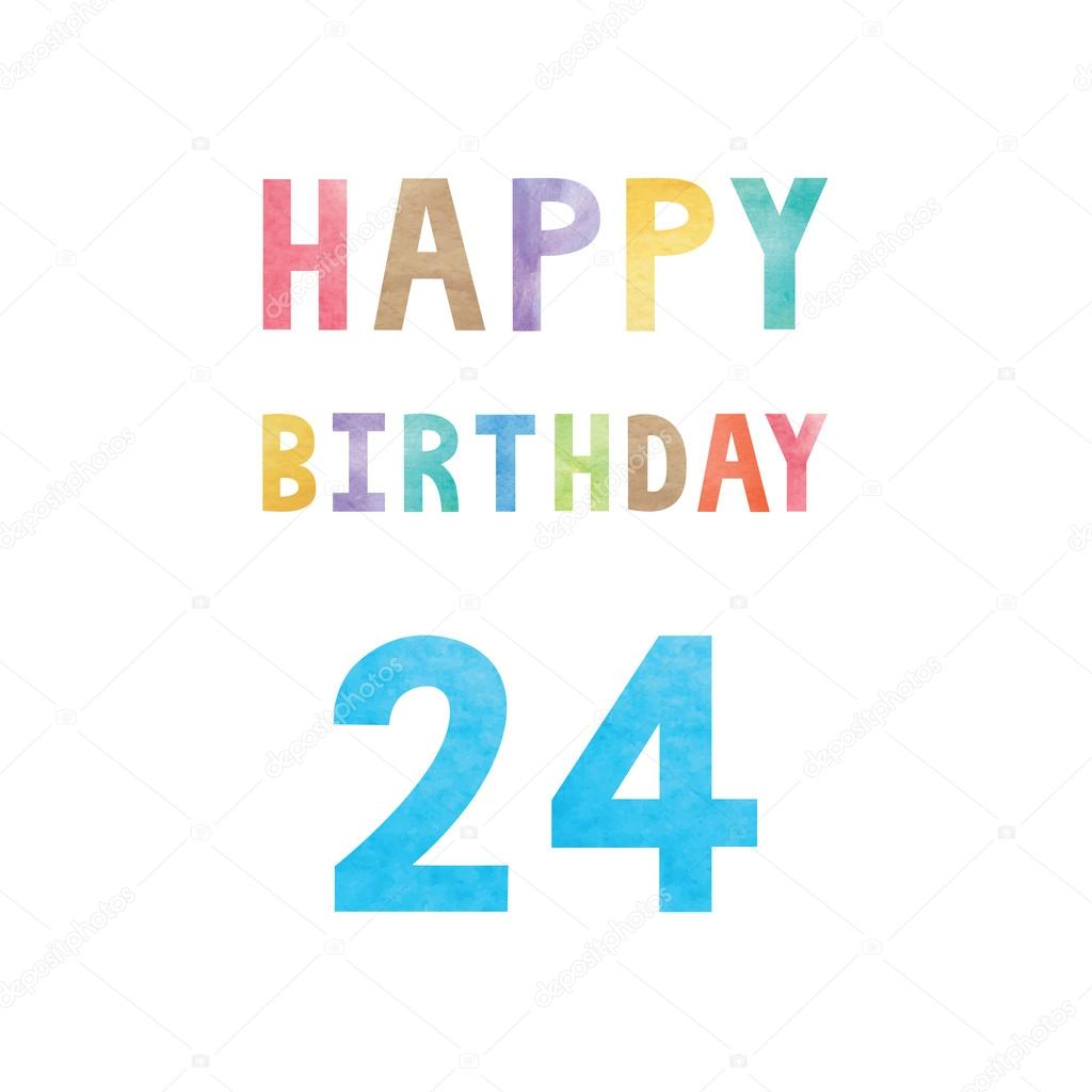 Happy 24th Birthday Anniversary Card Vector Image By Gubgibgift Vector Stock 125328498