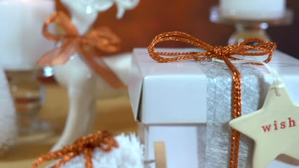 Festive Christmas gifts and gift wrapping in copper and white theme
