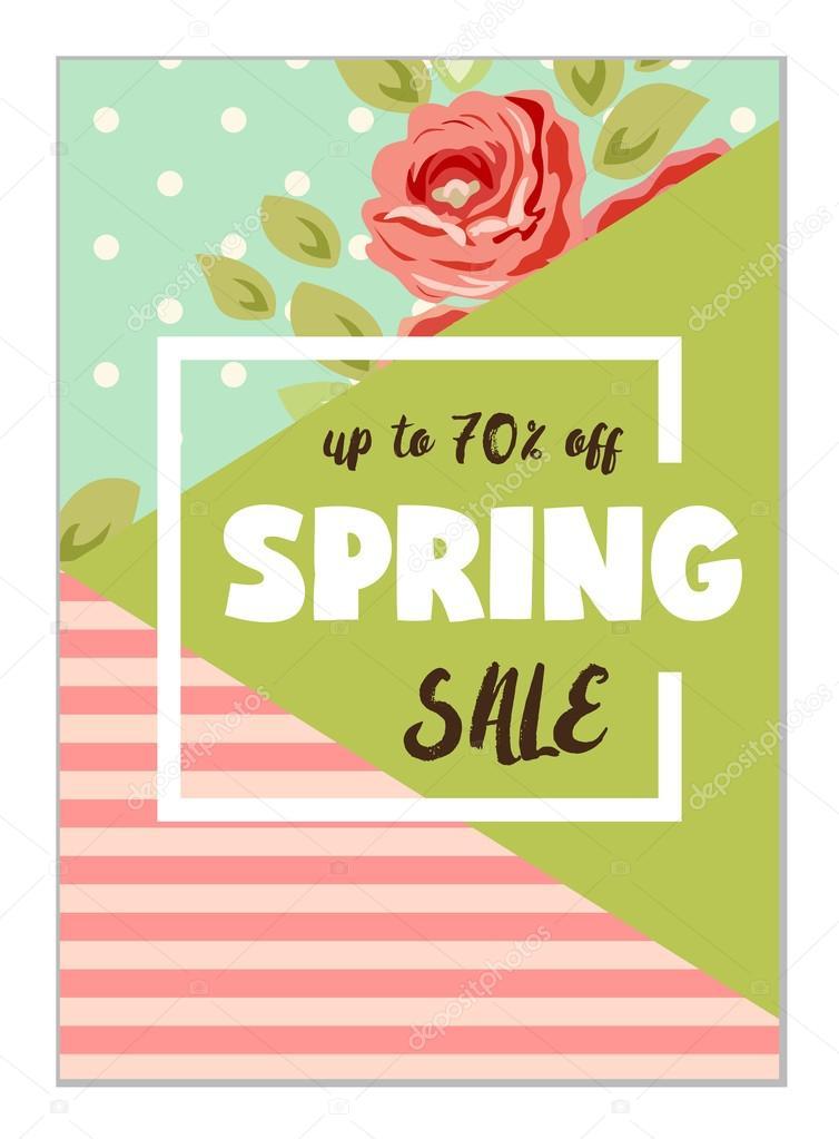 Spring seasonal sale flyer template \u2014 Stock Vector © IShkrabal - spring flyer template