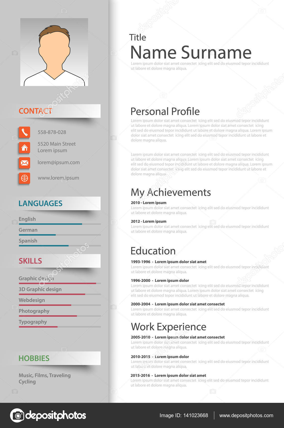 Professional resume cv template \u2014 Stock Vector © Plisman #141023668