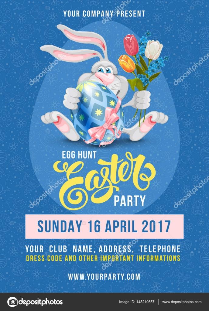 Easter Egg Hunt Flyer Template \u2014 Stock Vector © Pazhyna #148210657