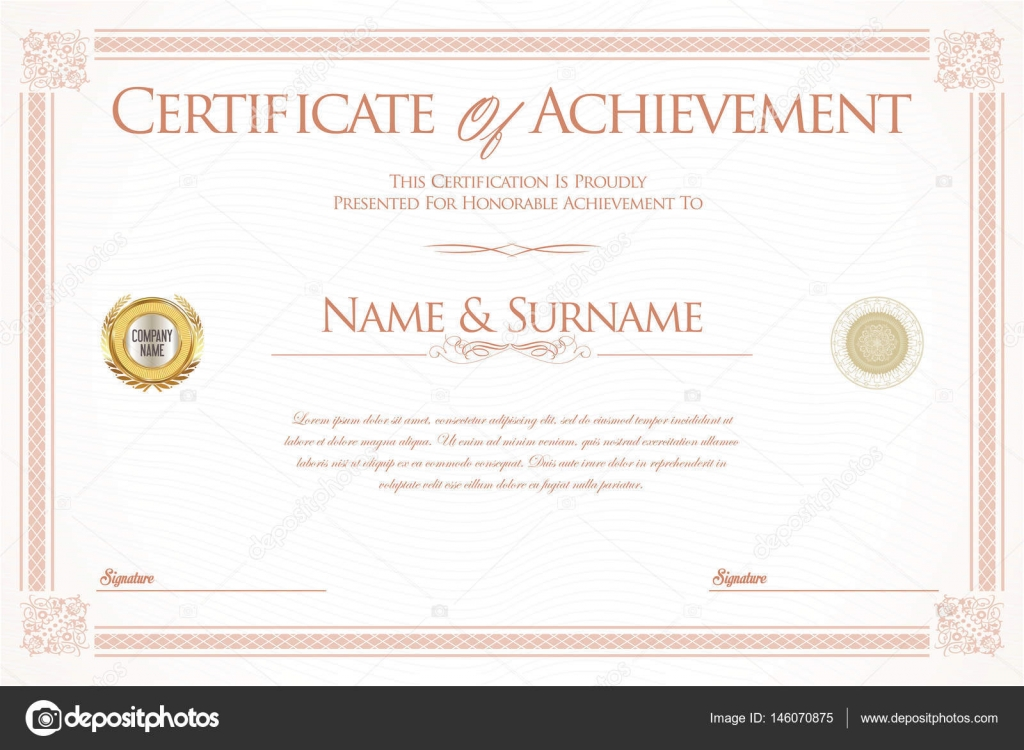 Certificate of achievement or diploma template \u2014 Stock Vector