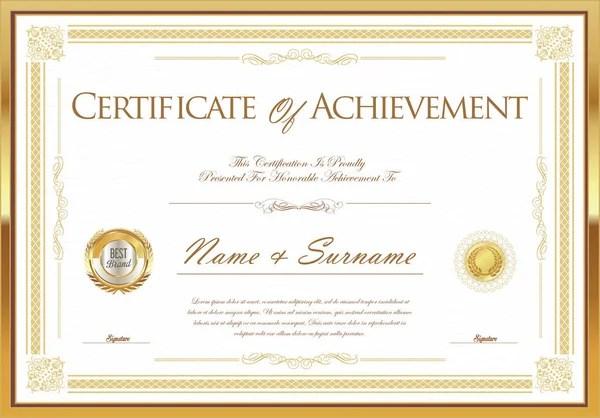 Vector certificate of achievement with wax seal \u2014 Stock Vector