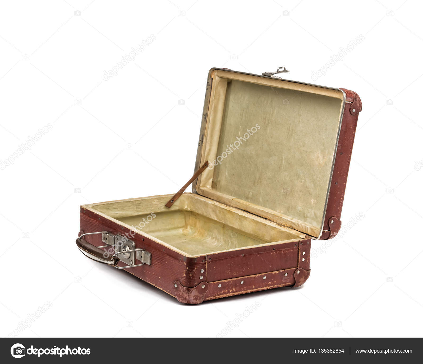 Koffer Vintage Old Vintage Suitcase Opened Front Isolated On White Stock