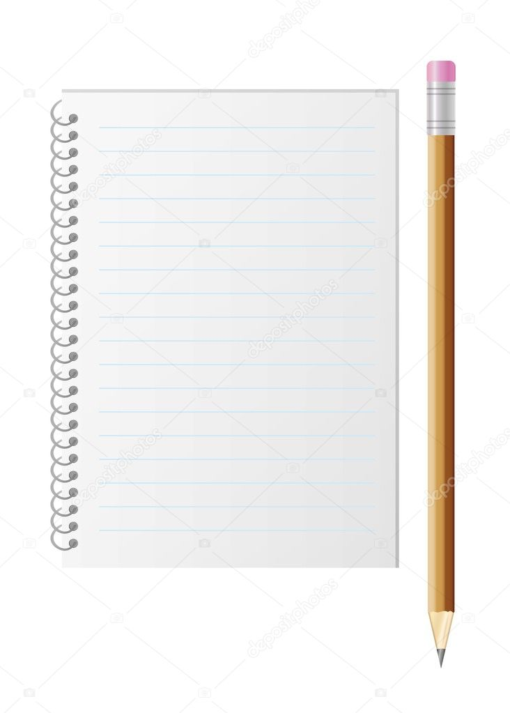 blank lined paper and pencil with eraser \u2014 Stock Vector © muuraa