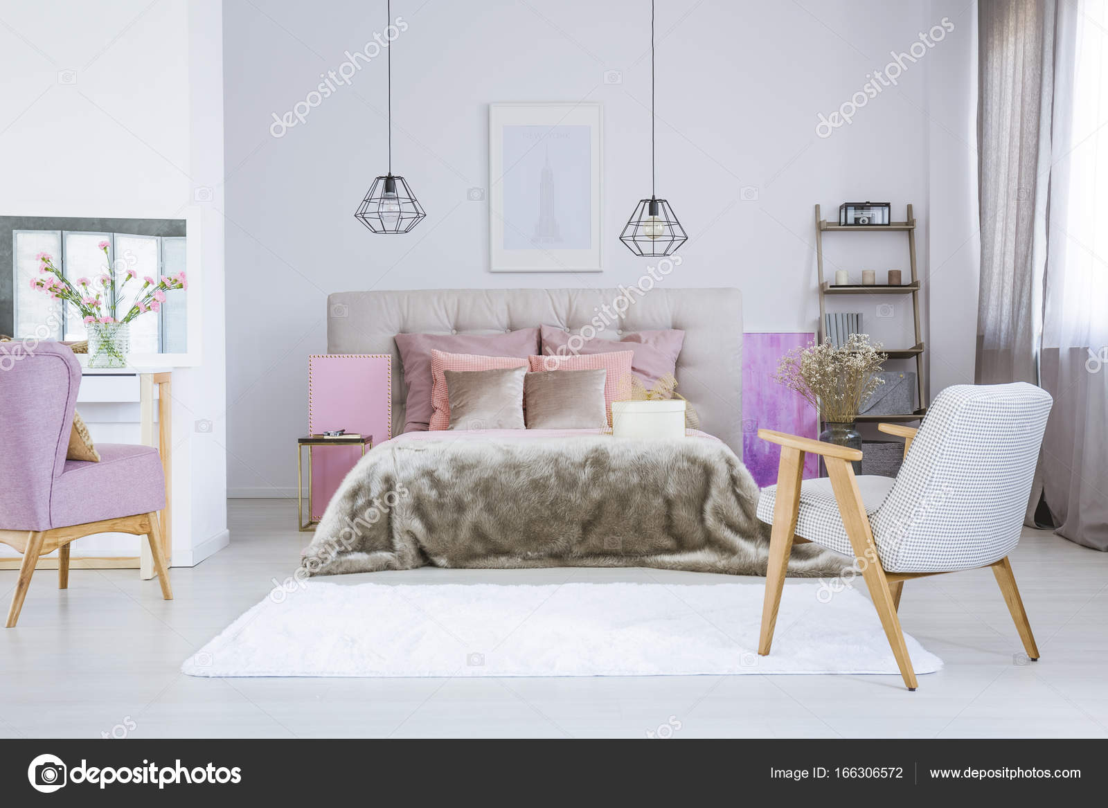 Hangend Bed Poster Boven Grijze Bed Stockfoto Photographee Eu 166306572