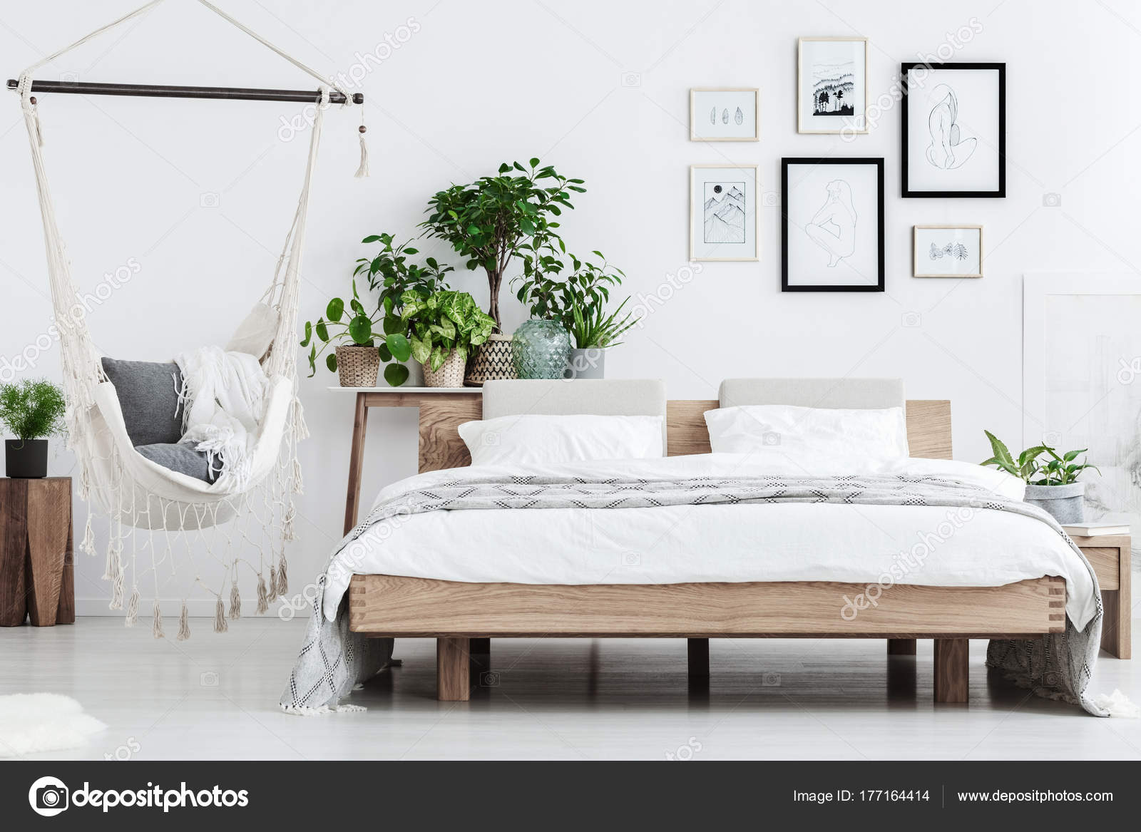 Pflanzen Vor Schlafzimmer Natural Bedroom Interior With Plants — Stock Photo