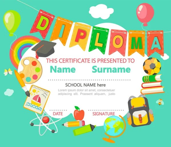 Colorful kids diploma certificate template in cartoon style with boy - certificate template for kids