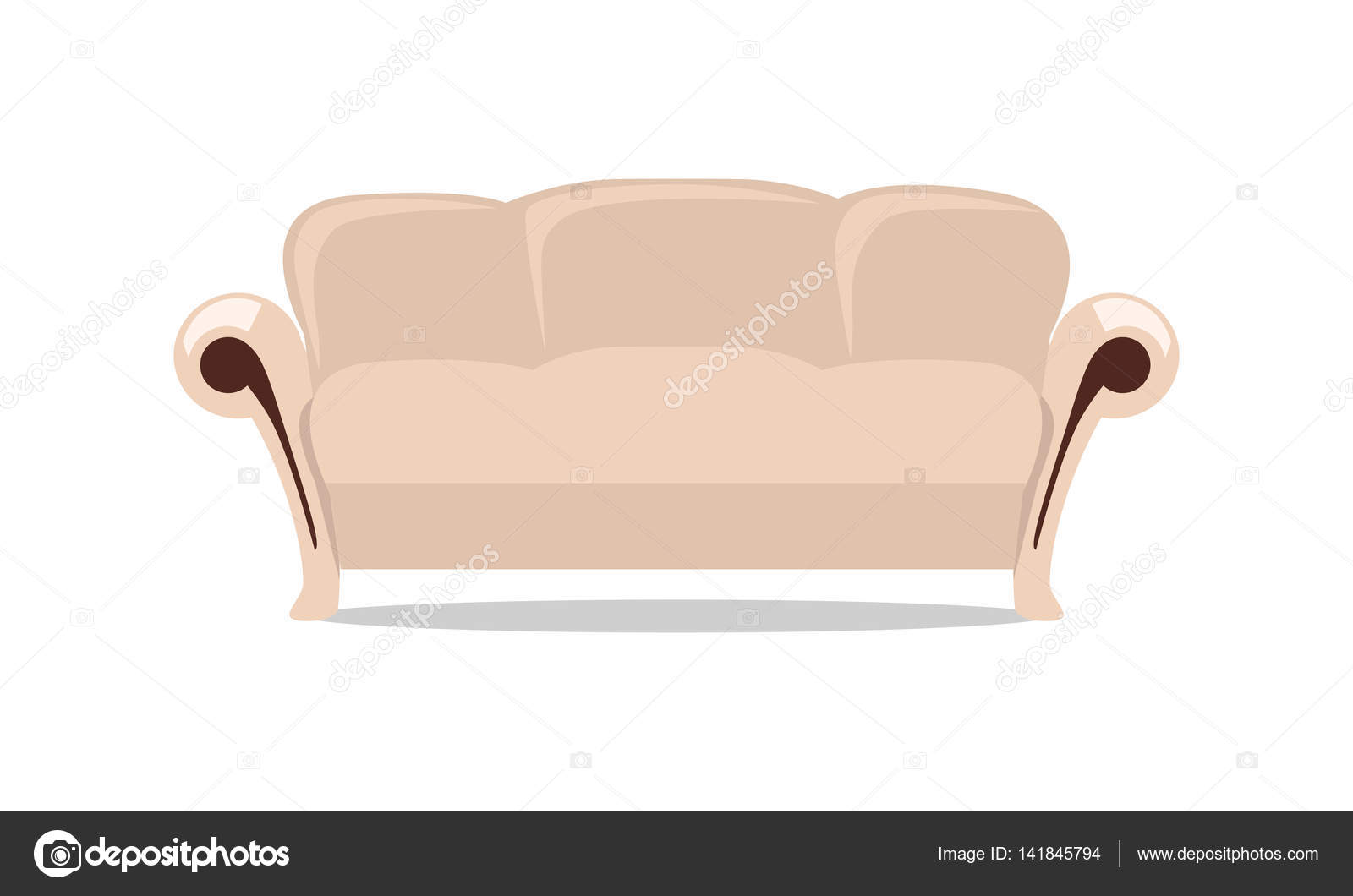 Sofa Vector Free Leather Sofa Vector Illustration In Flat Design Stock Vector