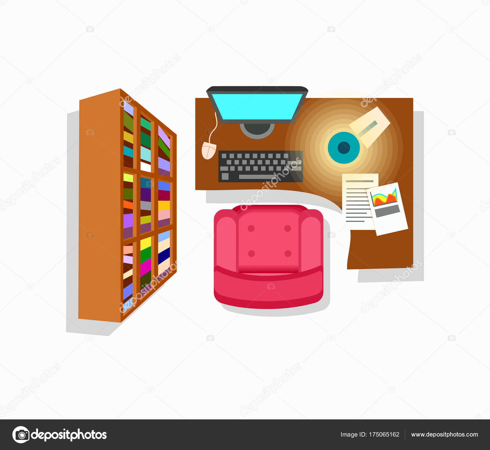 Interieur Icon Werkruimte Interieur Icon Vectorillustratie Stockvector