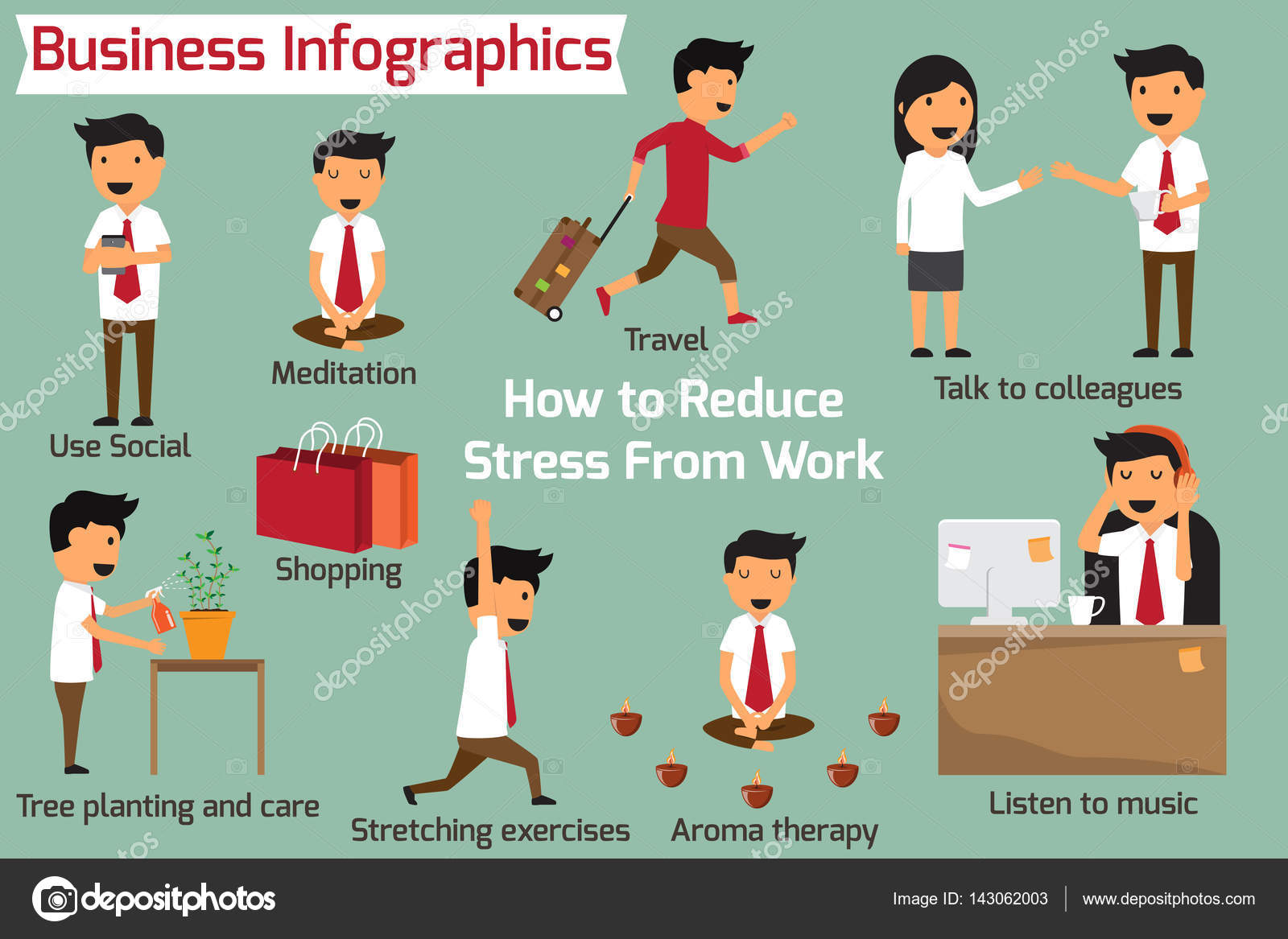 How to eliminate or reduce stress at work business infographics