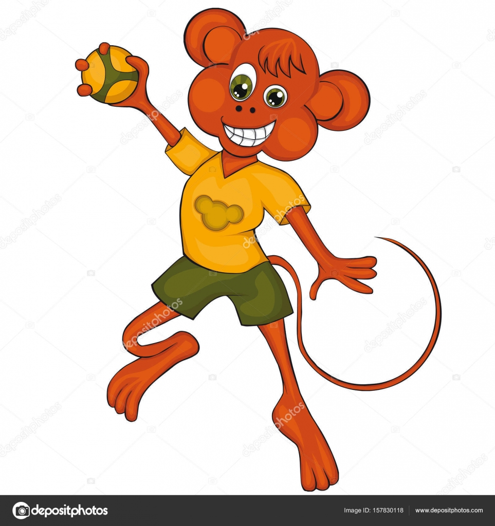 Kinder Affe Affe Spielt Handball Cartoon Stil Clipart Für Kinder