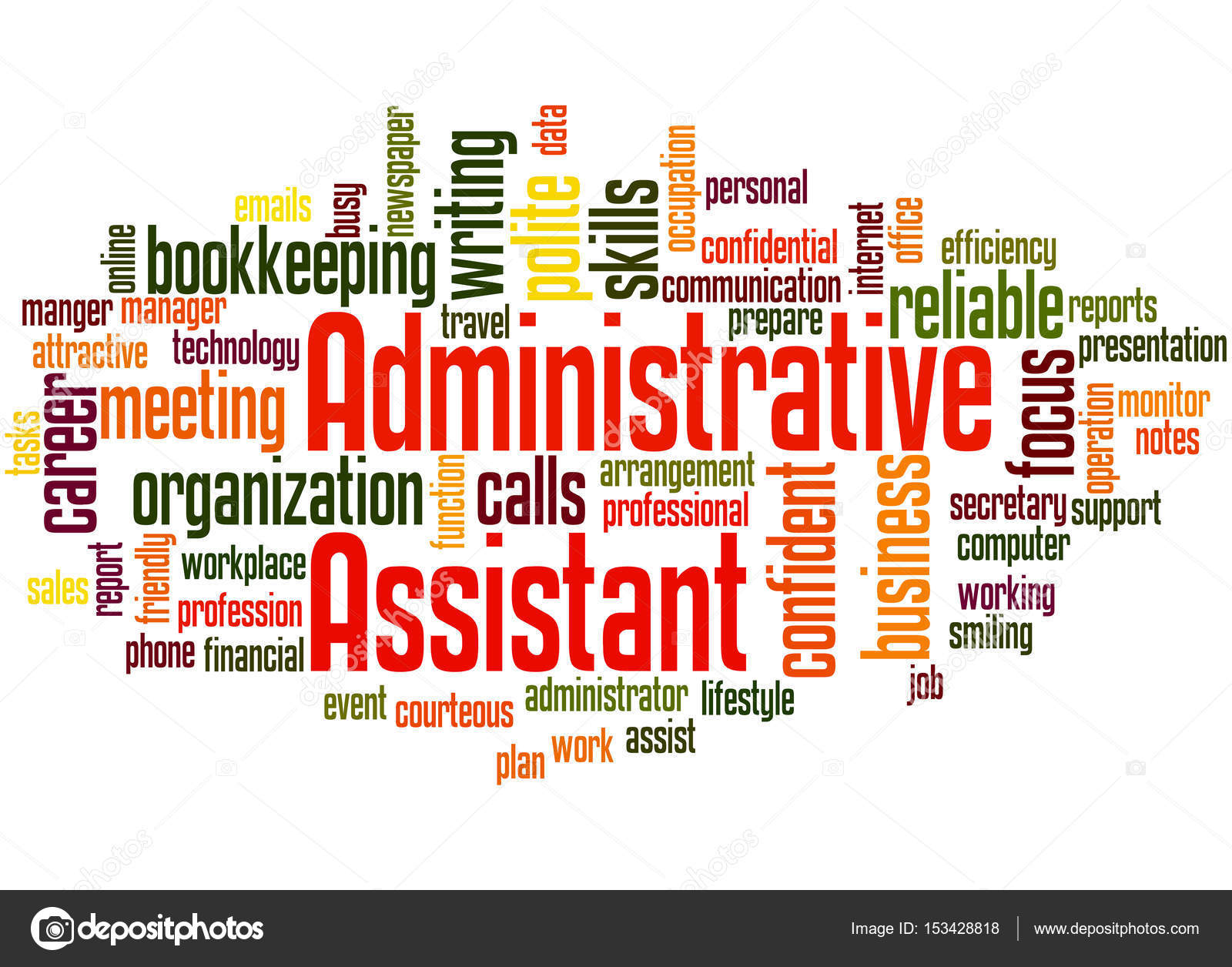 Administrative Assistant Administrative Assistant Word Cloud Concept 3 Stock Photo