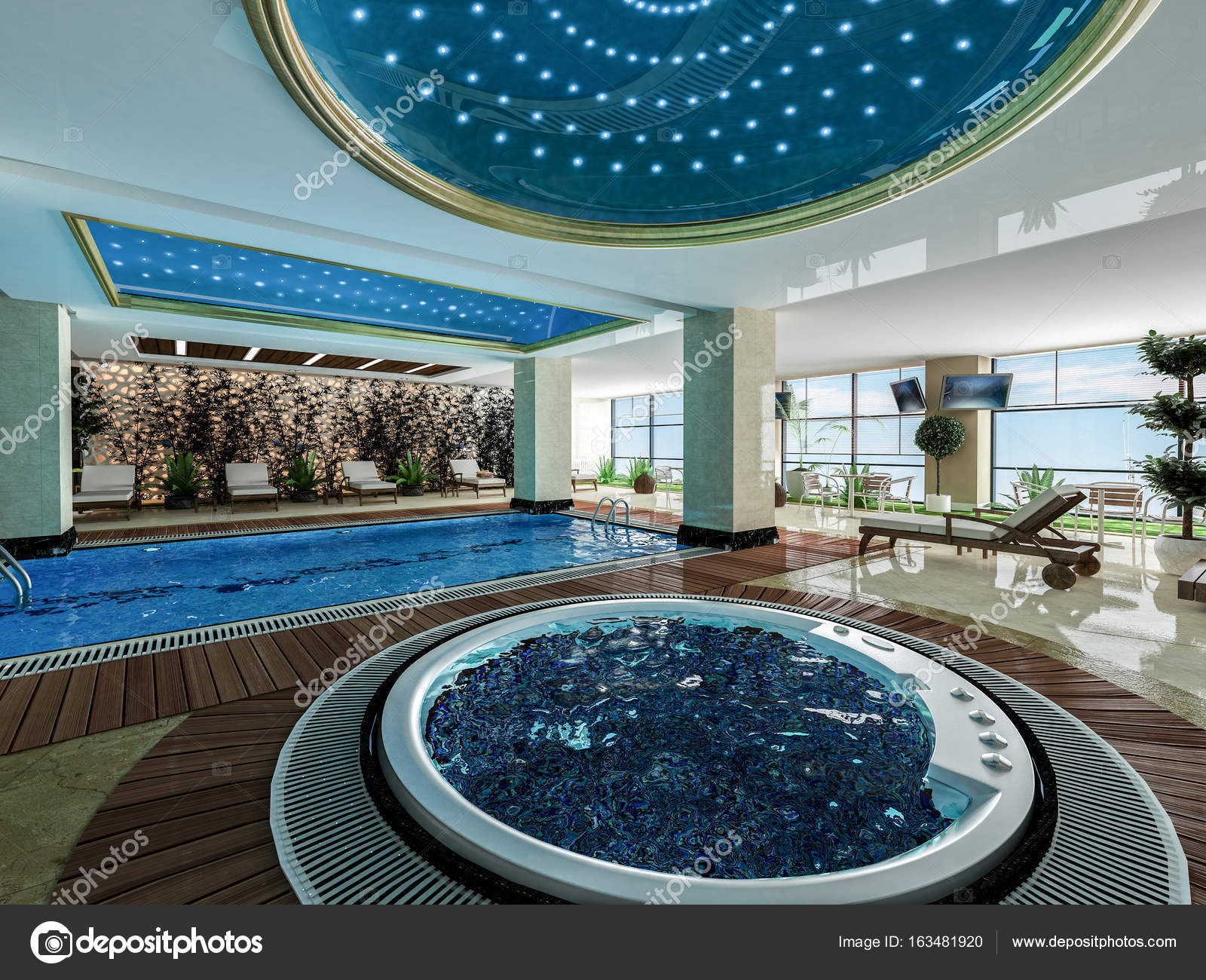 Pool And Jacuzzi Indoor Swimming Pool And Jacuzzi Design Idea Stock Photo