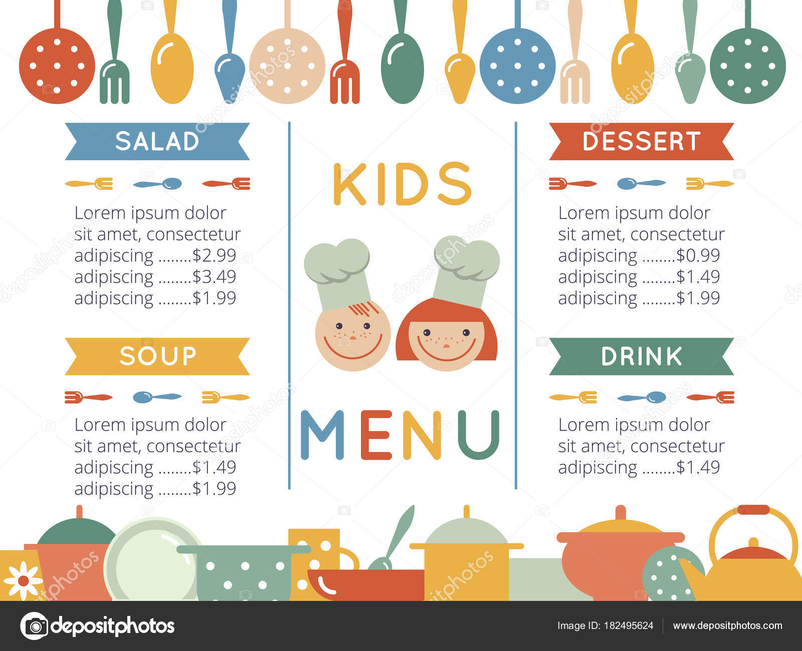 Kids Menu Template Stock Vector Color885 182495624 - Menus Infantiles Para Cenar