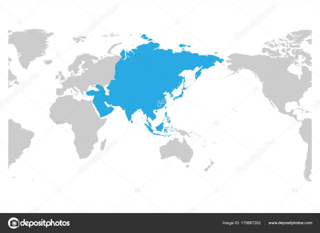 Asia continent blue marked in grey silhouette of World map Centered
