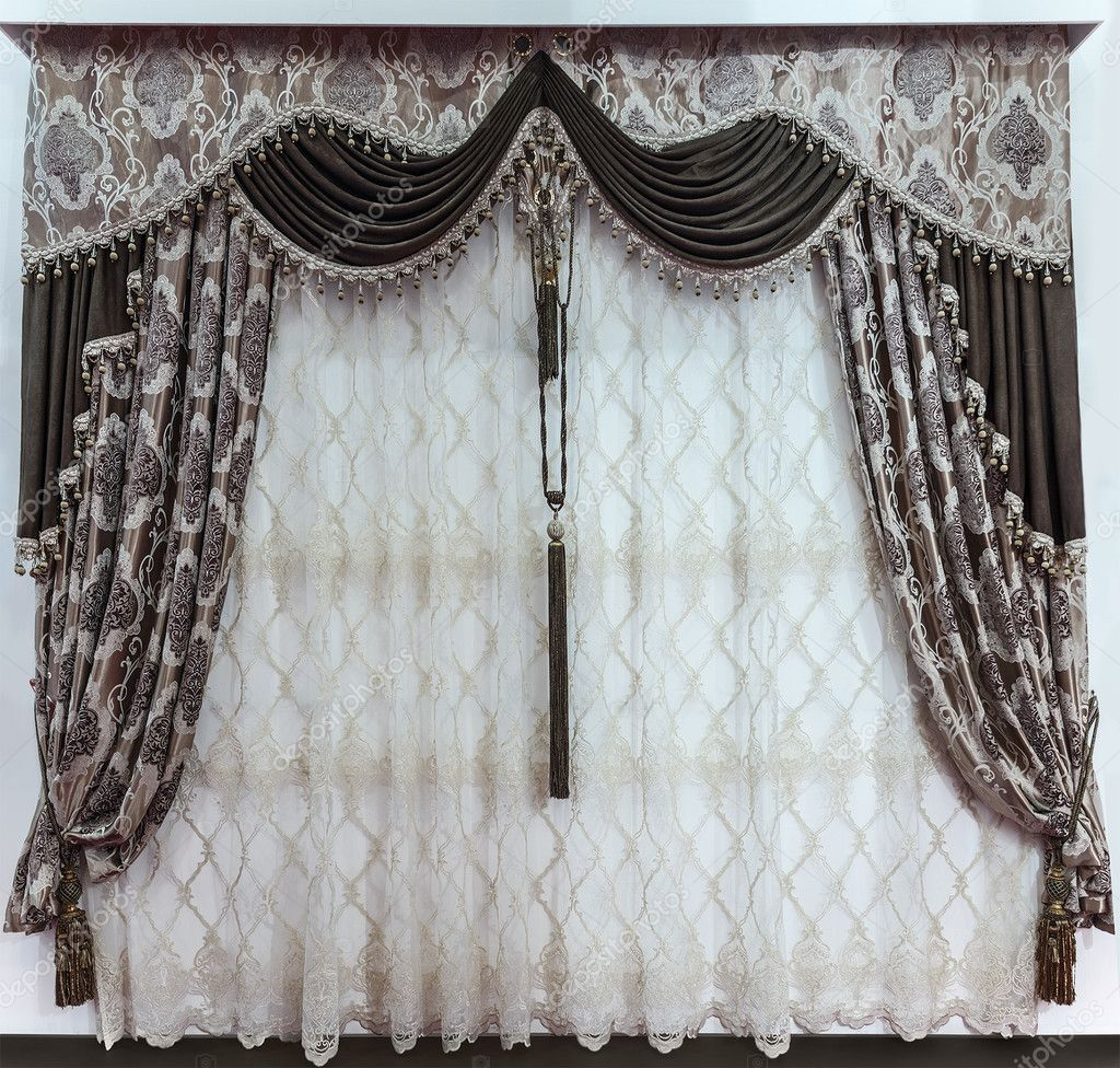 The Luxurious Design Of The Windows And Walls In The Interior The Brown Curtains The Pelmet And A Delicate Tulle Stock Photo Image By Fotiy 125167704
