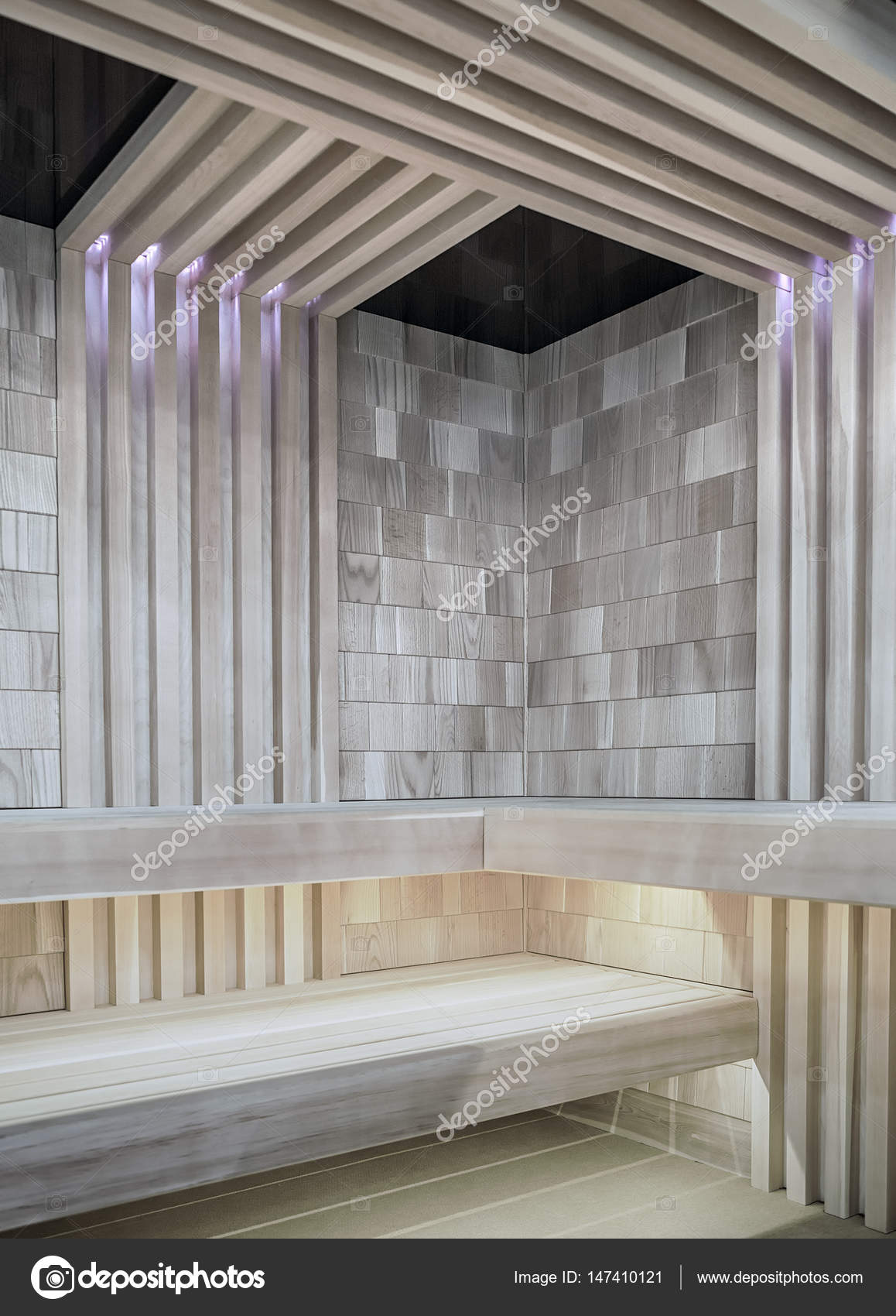 Sauna Led Stylish Modern Sauna With Led Lighting Stock Photo Fotiy