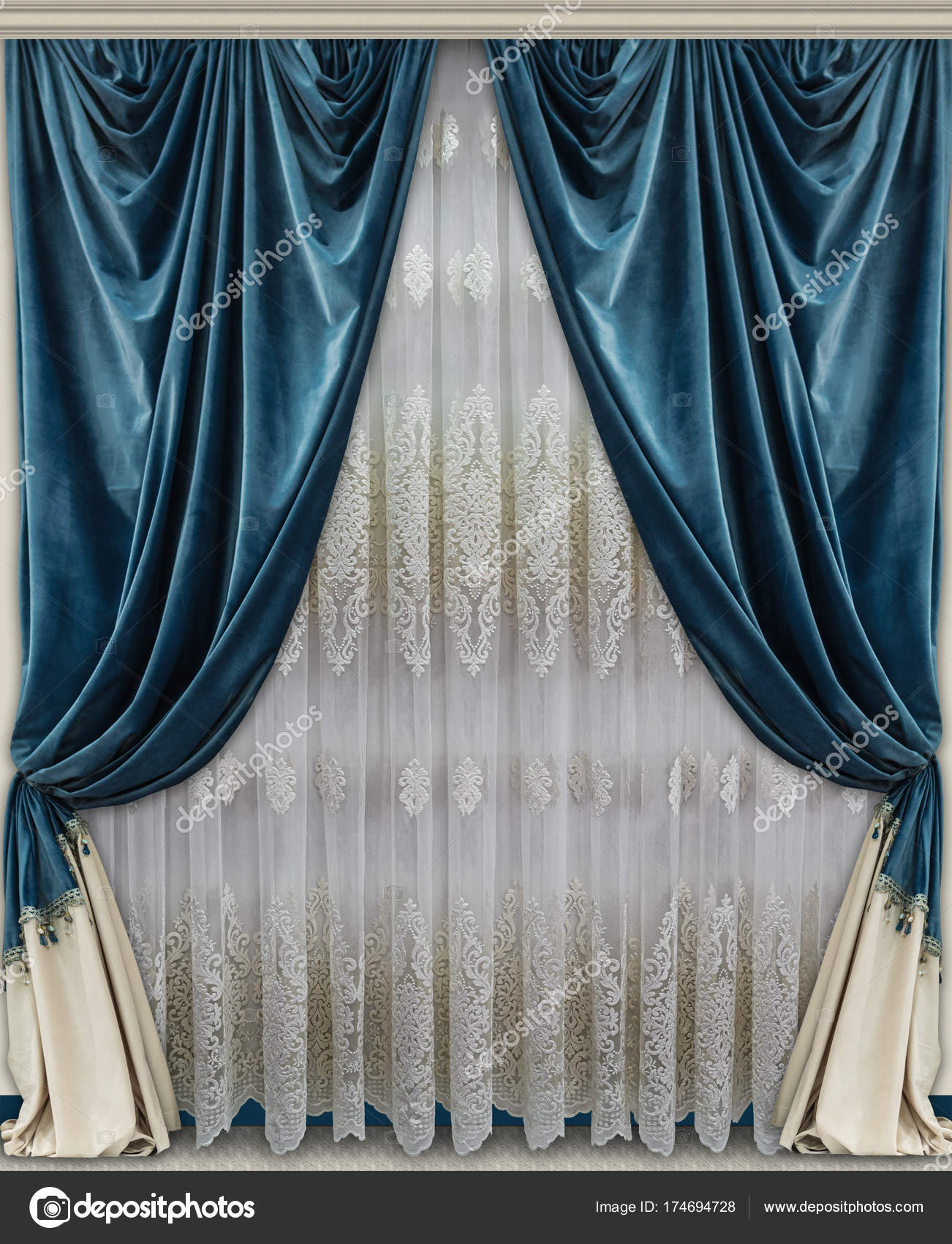 Cheap Stylish Curtains Stylish Curtains Made Of Velvet Fabric Of Blue And Beige Color And