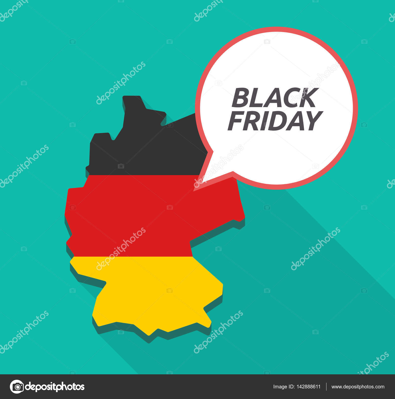 Blackfriday Germany Long Shadow Germany Map With The Text Black Friday Stock Vector