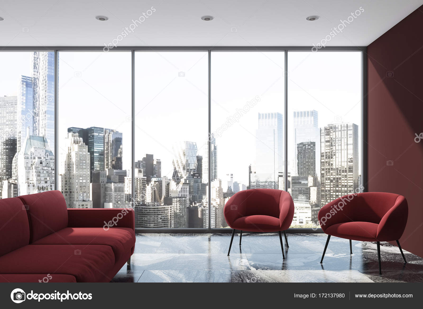 Wohnzimmer Rotes Sofa Lila Wohnzimmer Rotes Sofa Sessel Loft Stockfoto