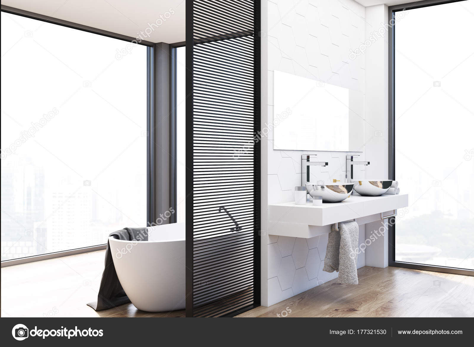 Muurtegels Keuken Hexagon Tile Bathroom Double Sink And Tub Stock Photo