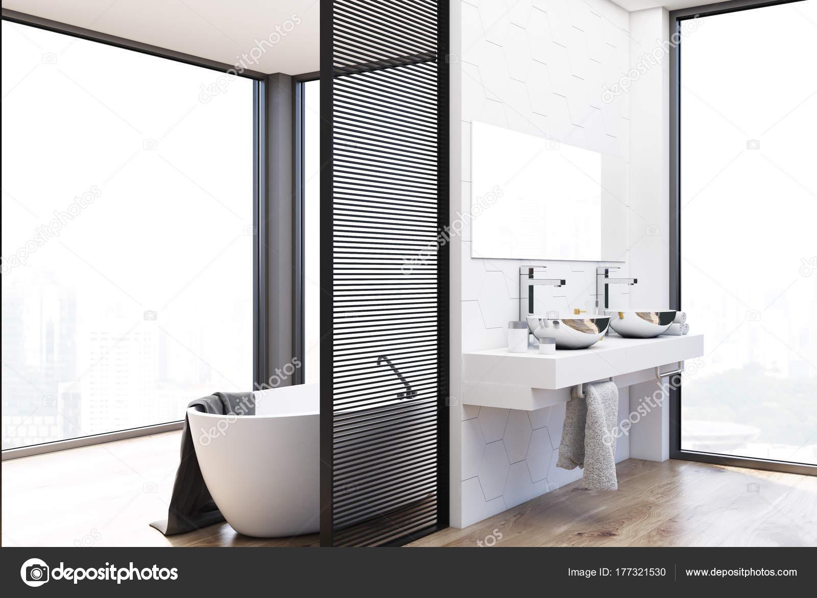 Dubbele wastafel badkamer grijs en wit dubbele wastafel badkamer