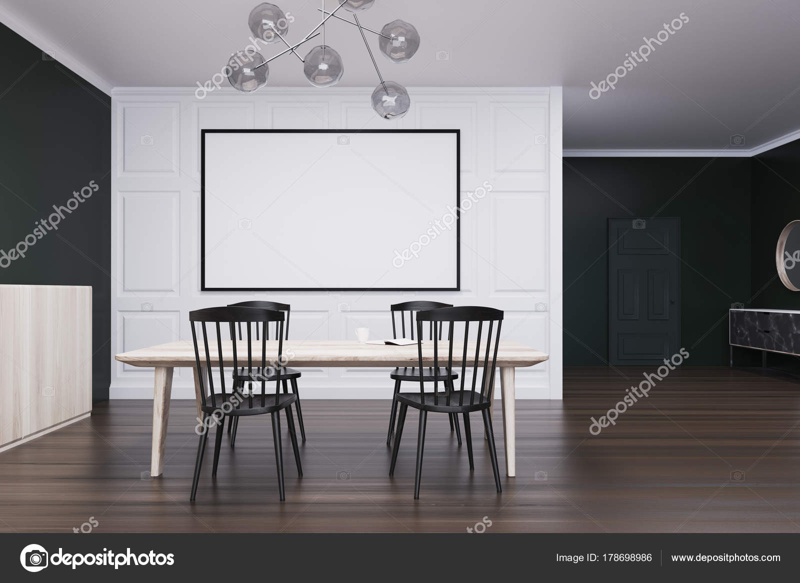 Esszimmer Schwarz Weiß Schwarz Weiß Esszimmer Poster Und Tabelle Stockfoto
