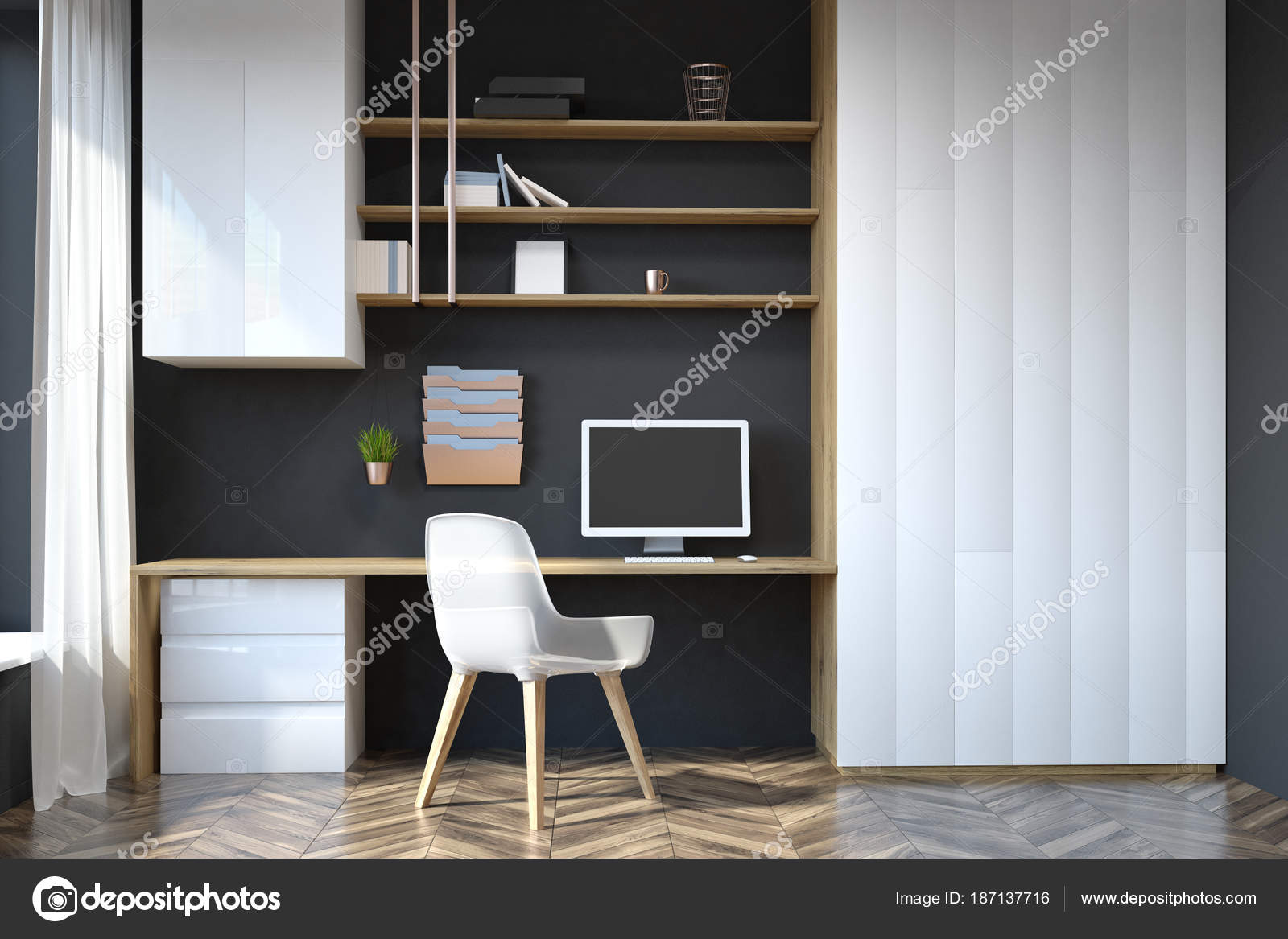Home Office Arbeitsplatz Schwarz Home Office Arbeitsplatz Stockfoto Denisismagilov 187137716