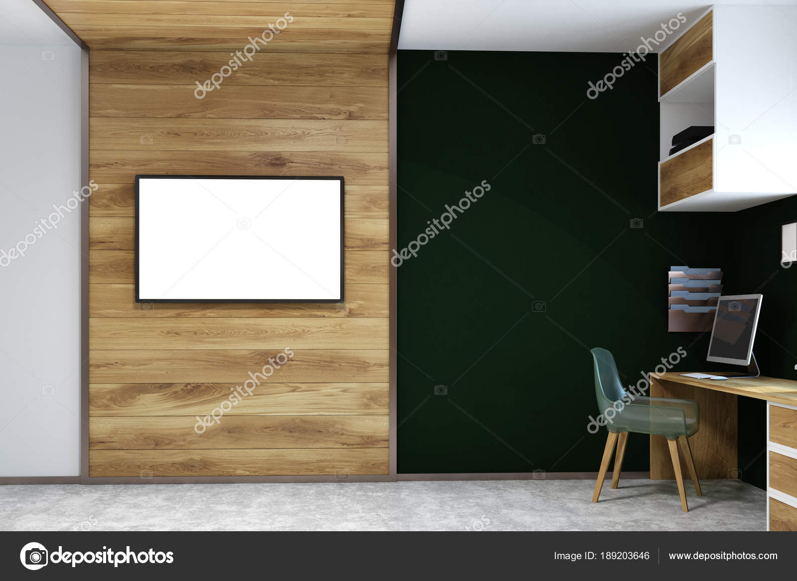 Wood Wall Behind Tv Black Wall Home Office Tv Screen Mock Up Stock Photo