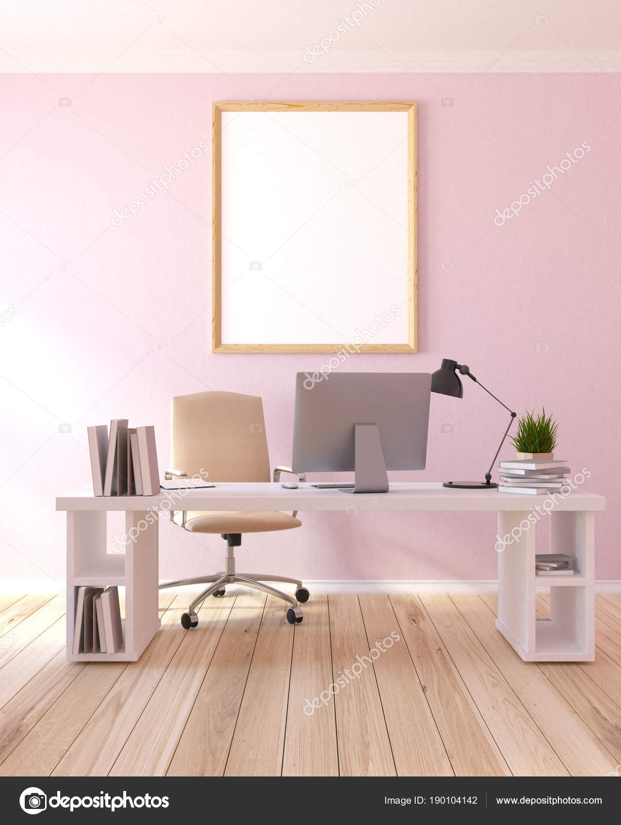 Home Office Arbeitsplatz Leichte Rosa Home Office Arbeitsplatz Poster Stockfoto