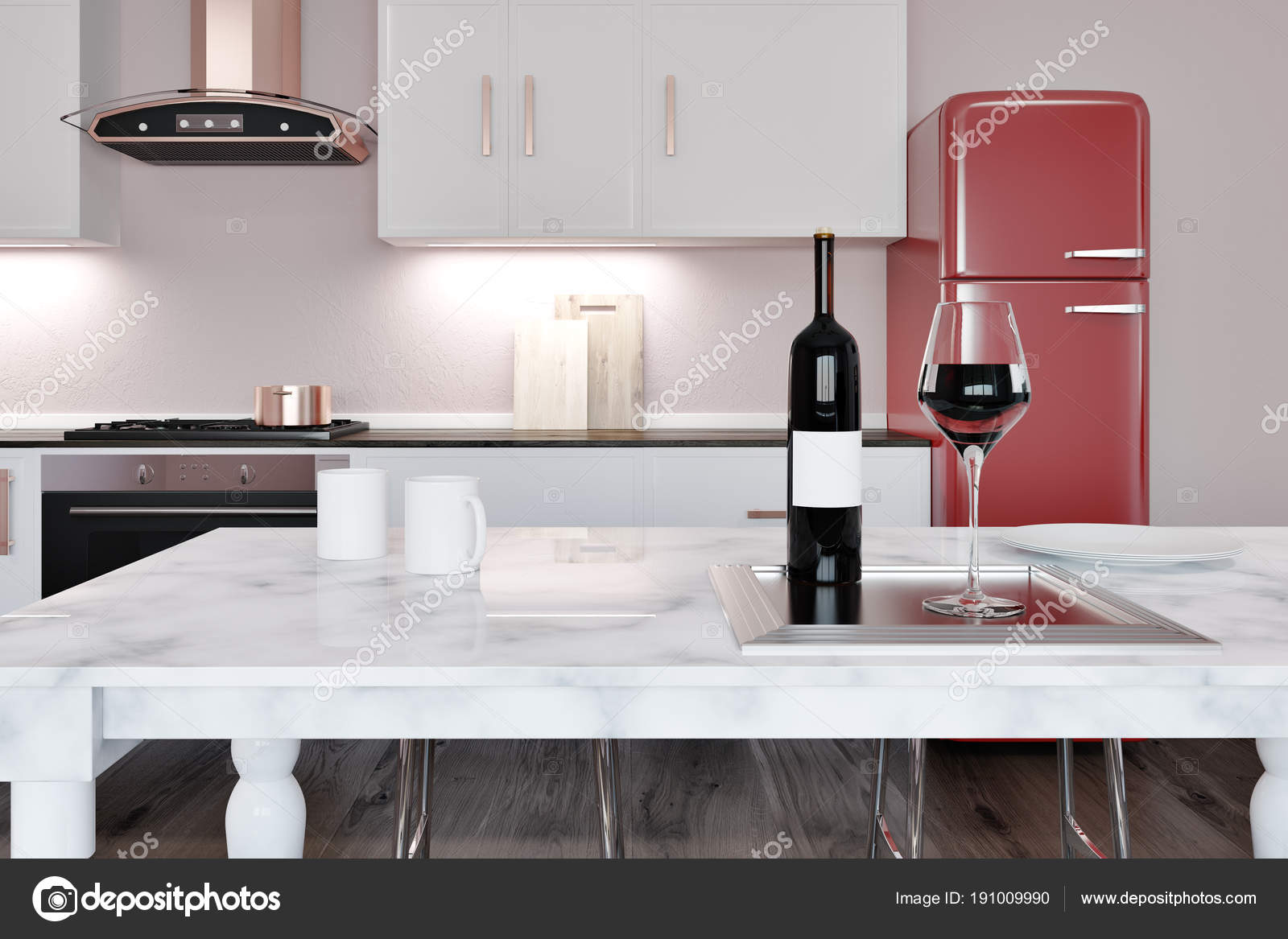 White Marble Island White Marble Kitchen Island Red Fridge Stock Photo