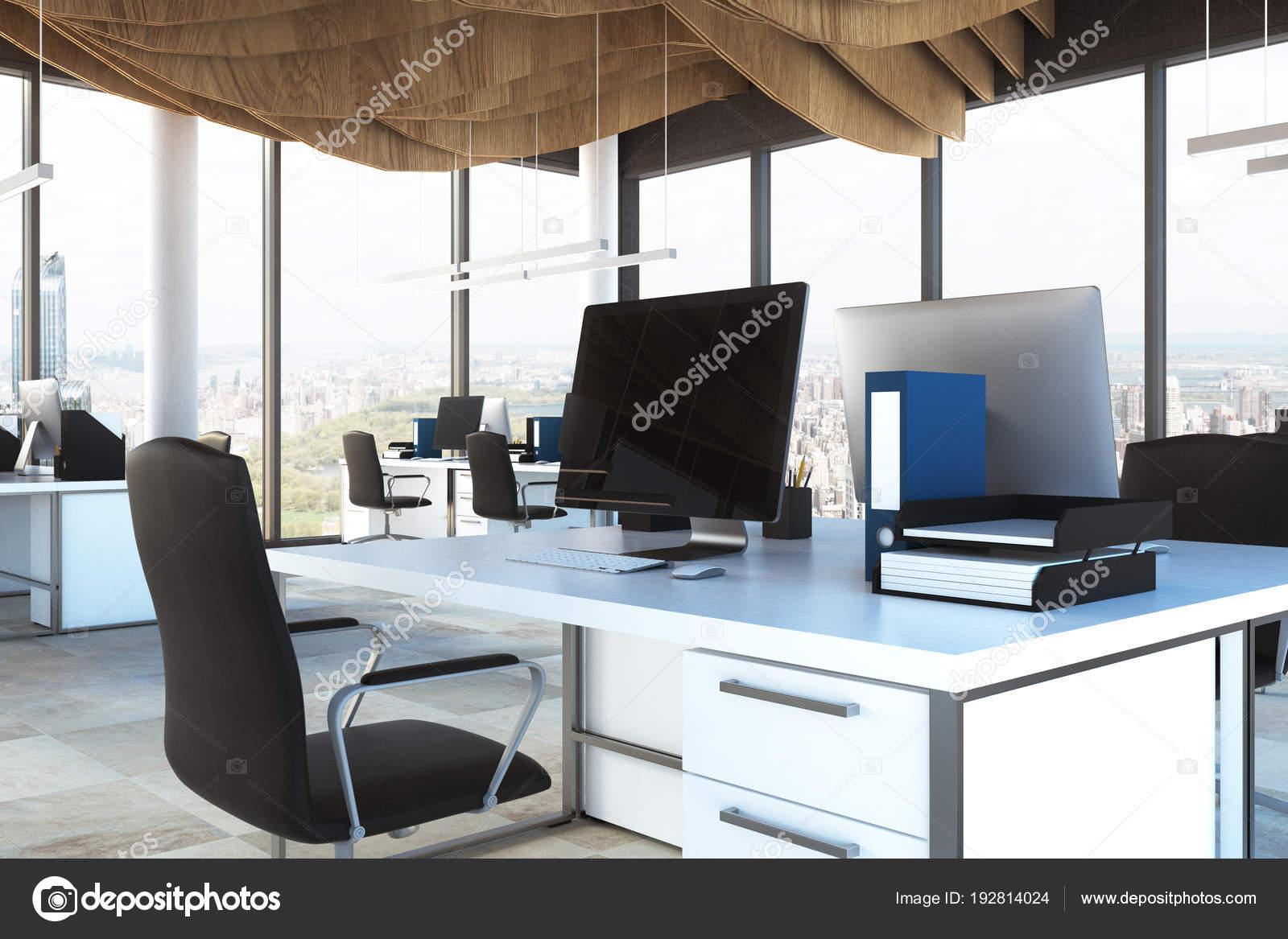 Bureaux noir bel intérieur moderne immeuble de bureaux abstrait