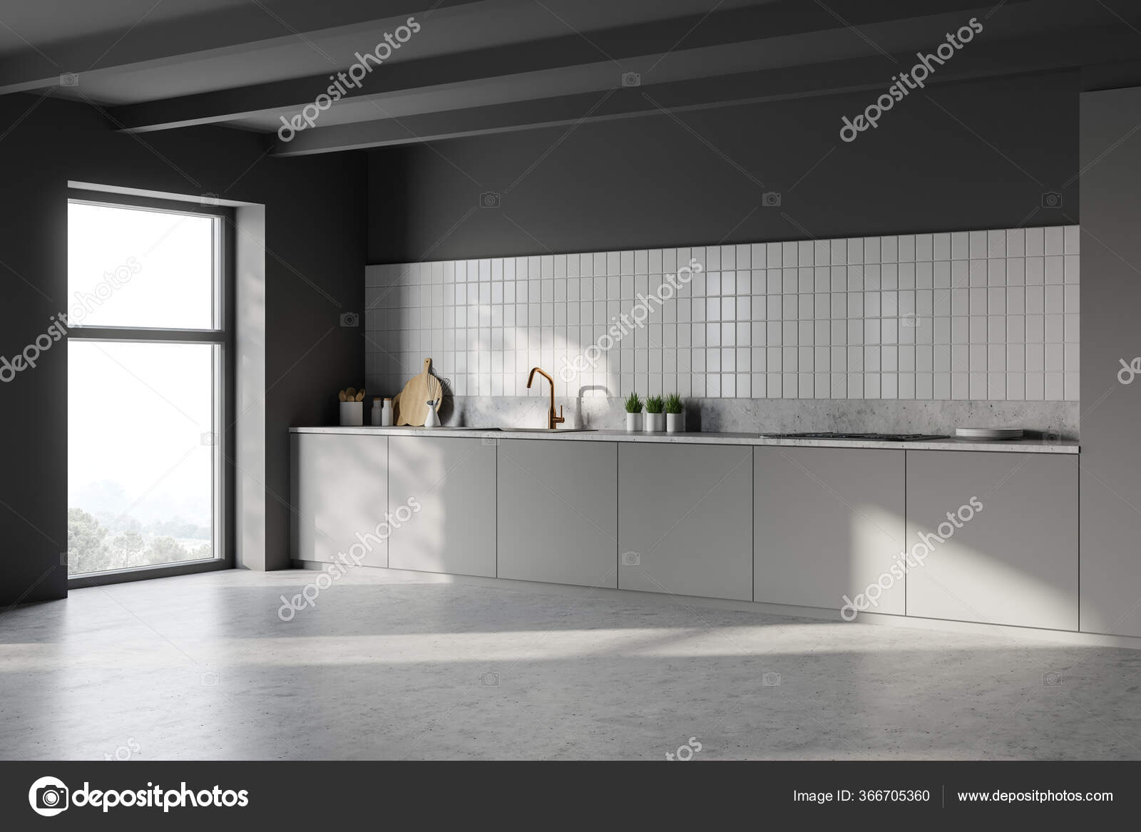Dan Küche Arbeitsplatte Basin Corner Stylish Minimalistic Kitchen White Dark Grey Walls Concrete Floor ⬇ Stock Photo, Image By © Denisismagilov #366705360