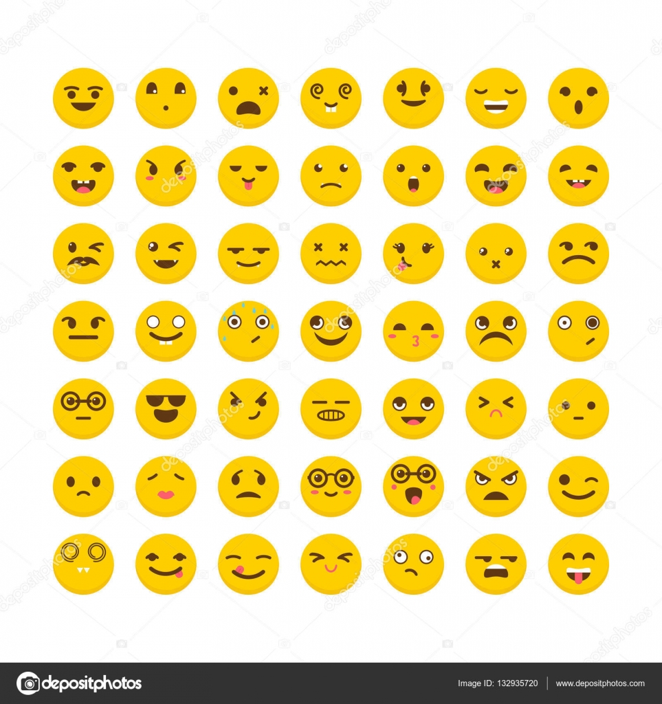 Cute Chat Wallpaper For Whatsapp Set Of Emoticons Funny Cartoon Faces Cute Emoji Icons