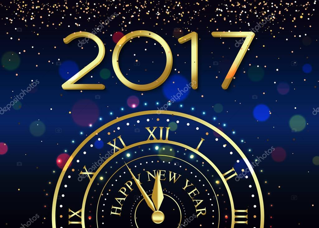 2017 Happy New Year background with gold clock for poster, banner