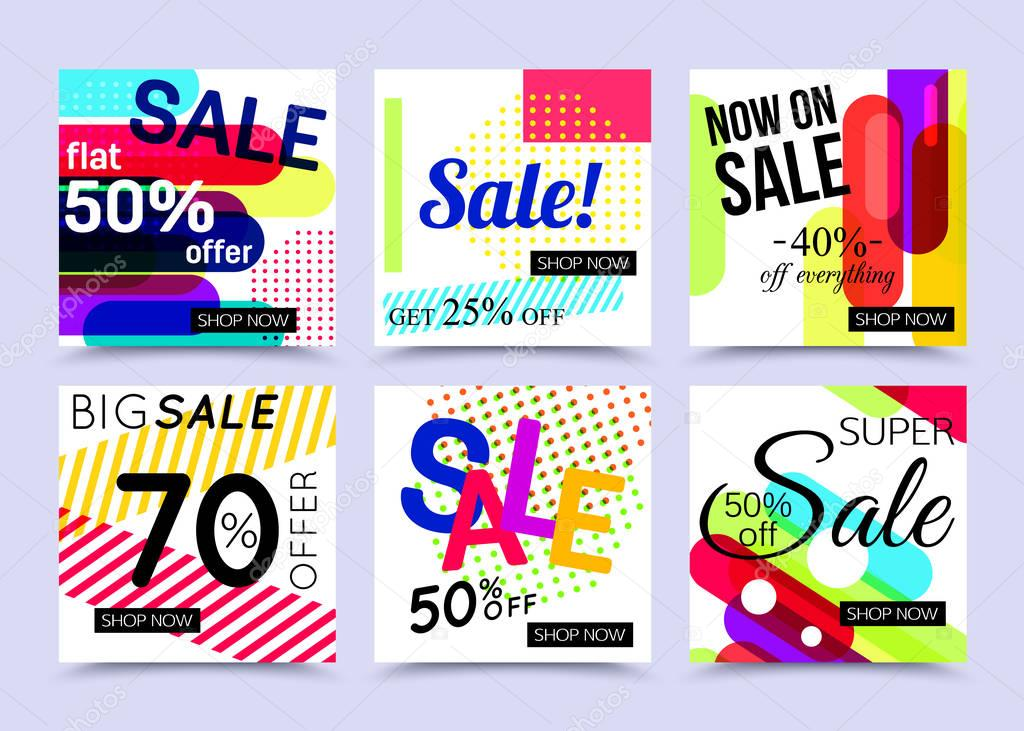 Collection of sale website banner templates Vector illustrations
